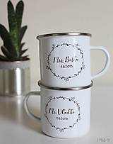 Nádoby - Smaltované hrnčeky Mr.&Mrs. pre párik s vlastným textom - 9777018_