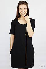 Šaty - Dámske šaty s vreckami čierne z bavlneného úpletu s KR M14 IO7 - 9777216_