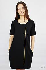 Šaty - Dámske šaty s vreckami čierne z bavlneného úpletu s KR M14 IO7 - 9777219_