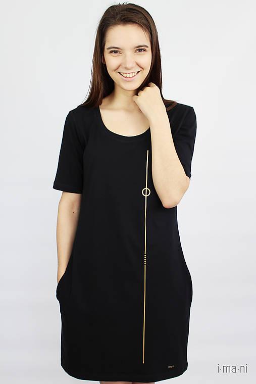Dámske šaty s vreckami čierne z bavlneného úpletu s KR M14 IO7