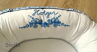 Textil - Vyšívané hniezdo - modré - 9781370_
