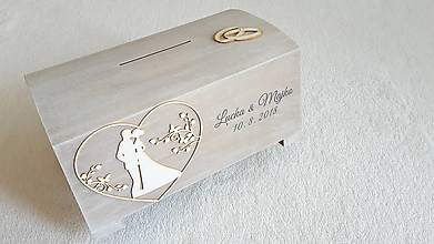 Krabičky - Svadobná pokladnička veľká - natur - 9779322_