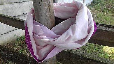 Šatky - Ružová tunelová šatka s čipkou - 9779118_