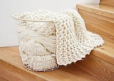 Úžitkový textil - Vlnená pletená deka - prírodná - 9779708_
