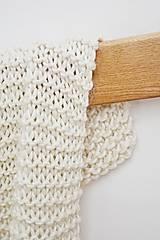 Úžitkový textil - Vlnená pletená deka - prírodná - 9779715_