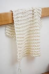 Úžitkový textil - Vlnená pletená deka - prírodná - 9779716_