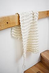 Úžitkový textil - Vlnená pletená deka - prírodná - 9779717_