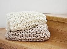 - Vlnená pletená deka - prírodná - 9779719_