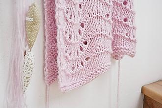 Textil - Vlnená pletená deka - ružová - 9779690_