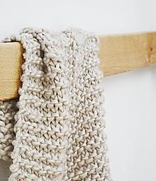 Úžitkový textil - Vlnená pletená deka - biela káva - 9779727_