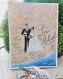 Darčeky pre svadobčanov - Svadobný obraz - ilustrácia novomanželov - 9781053_