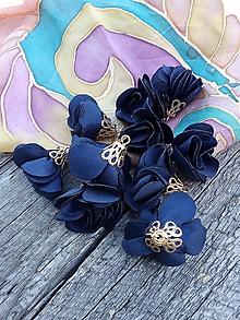 Polotovary - Textilné kvety, filigrán - pár (Navy) - 9781190_