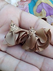 Polotovary - Textilné kvety, filigrán - pár (Hnedá) - 9781192_