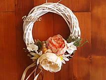 Dekorácie - Jesenný veniec s hortenziami a vtáčikom s nápisom 28cm - 9780337_