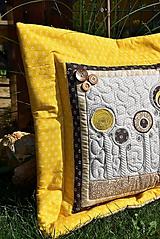 Úžitkový textil - V krajine zázrakov...žlto - hnedá verzia - vankúše :) - 9779820_