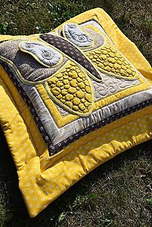Úžitkový textil - Krajina divých kvetov - motýľ - žlto - hnedé prevedenie - 9779752_