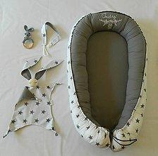 Textil - Vyšívané hniezdo pre bábätko - sivá hviezda - 9781837_