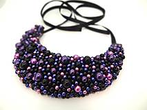 Náhrdelníky - Čierno-fialový náhrdelník  (Veľký) - 9784122_
