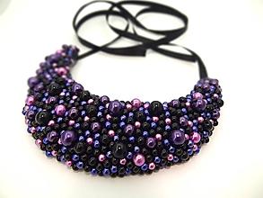 Náhrdelníky - Čierno-fialový náhrdelník - 9784117_