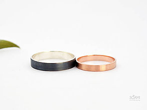 Prstene - Snubné prstene Black&Rose 585/1000 zlatý a 925/1000 strieborný prsteň - 9782765_