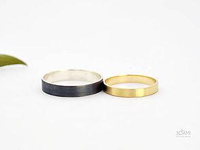 Prstene - Snubné prstene obrúčky 14k zlatý a 925 strieborný prsteň - 9783830_