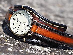 Náramky - Hnedočierny kožený remienok, pánske hodinky, bronzové hodinky - 9783800_