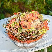 Dekorácie - Košík s oranžovými anemonkami - 9782783_