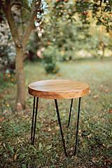 Nábytok - Kruhový konferenčný stolík s čiernymi kovovými nožičkami - 9782739_
