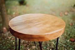 Nábytok - Kruhový konferenčný stolík s čiernymi kovovými nožičkami - 9782744_