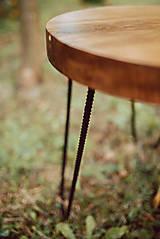 Nábytok - Kruhový konferenčný stolík s čiernymi kovovými nožičkami - 9782745_