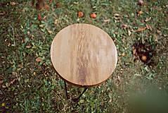Nábytok - Kruhový konferenčný stolík s čiernymi kovovými nožičkami - 9782746_
