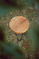 Nábytok - Kruhový konferenčný stolík s čiernymi kovovými nožičkami - 9782752_