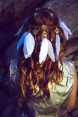 Ozdoby do vlasov - Festivalová čelenka bielo zlatá - 9781574_