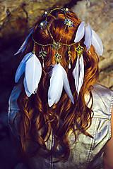 Ozdoby do vlasov - Festivalová čelenka bielo zlatá - 9781576_