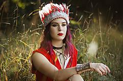 Ozdoby do vlasov - Červená prírodná indiánka - 9783705_