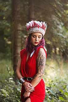 Ozdoby do vlasov - Červená prírodná bohémská čelenka z peria - 9783706_