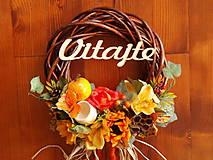 Dekorácie - Jesenný veniec so slnečnicami a jabĺčkom 33cm s nápisom - 9782178_