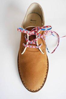 Obuv - Šnúrky do topánok - vzor FOLK II. (Tmavo modrá, bielo modré srdiečka, š. 6 mm) - 9782607_
