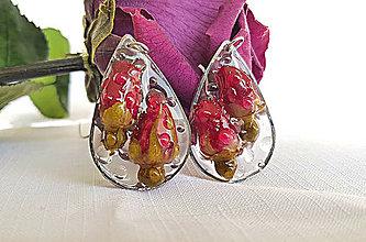 Náušnice - Živicové náušnice s ružami, Ag 925 - 9782974_
