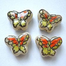 Korálky - Porcelán.motýlik 13x17mm-1ks (oranž/zelená) - 9785526_