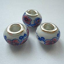Korálky - Pandora keramic 10x13mm-1ks (kobaltová) - 9785533_