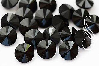 Komponenty - kabošon sklenený rivoli 12mm/1ks (Čierna) - 9786166_