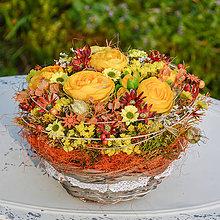 Dekorácie - Košík so žltými iskerníkmi - 9784423_