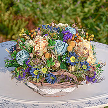 Dekorácie - Košík s ružami - 9785099_