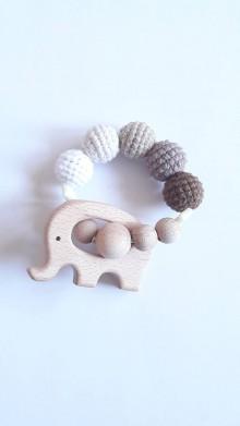 Hračky - Háčkované - drevené hryzatko (Hnedá) - 9785803_