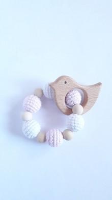 Hračky - Háčkované - drevené hryzatko (Ružová) - 9785821_