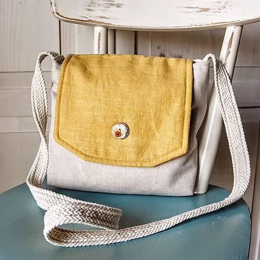 Ľanová mini kabelka