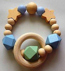 Hračky - Malé hryzátka (Modrá drevené korálky + krúžok) - 9785593_