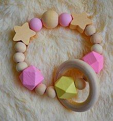 Hračky - Malé hryzátka (Ružová drevené korálky + krúžok) - 9785596_