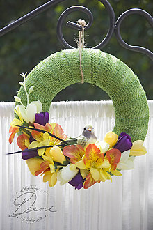 Dekorácie - Venček s vtáčikom - 9784269_